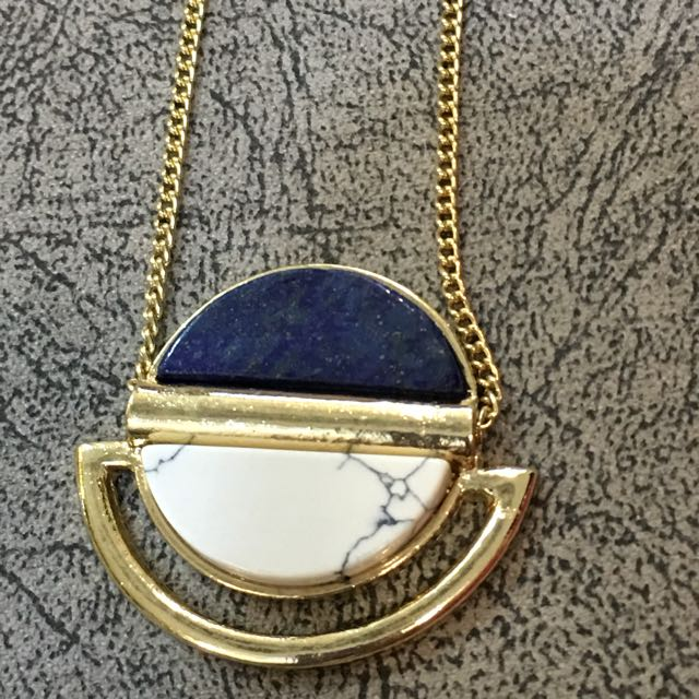 Natural White & Blue Stone Necklace