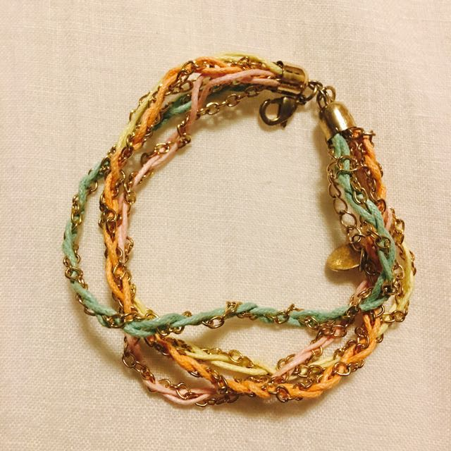 Orange, Turquoise, Pink, Yellow And Gold Chain Bracelet