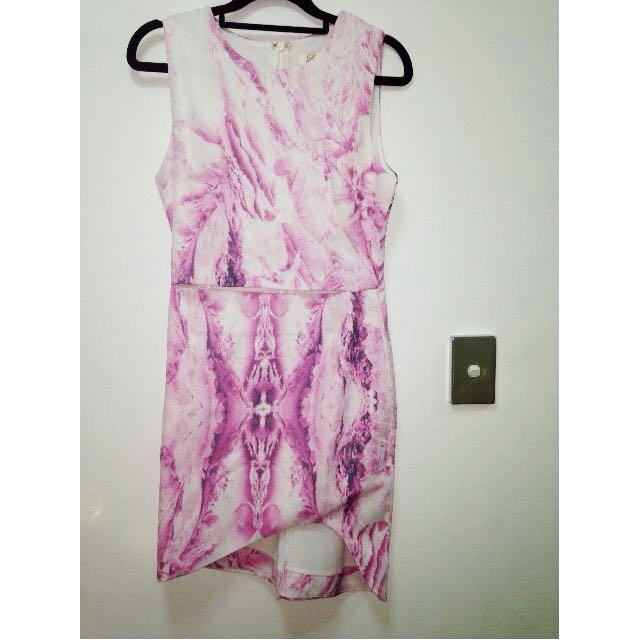 Pale pink & white cut out dress