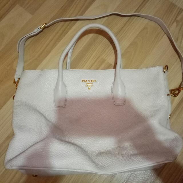 76c225a67e Preloved Authentic Prada Leather Tote Bag In Cream, Luxury, Bags ...