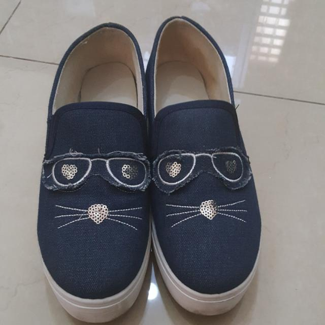 Preloved Slip On Cat Denim