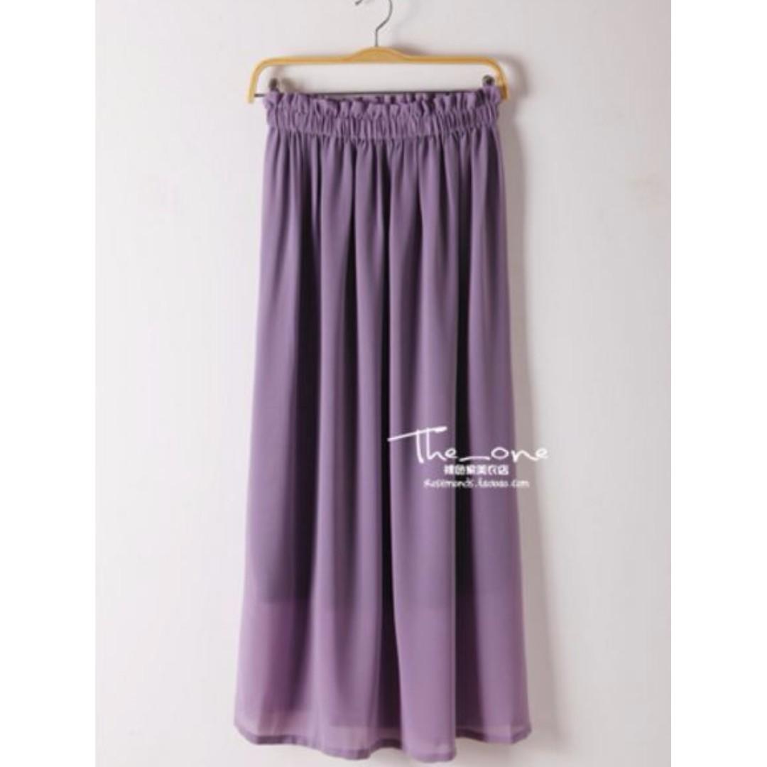 淘寶PTT合購裸色家雪紡不透長裙80cm-煙燻紫 #兩百元雪紡