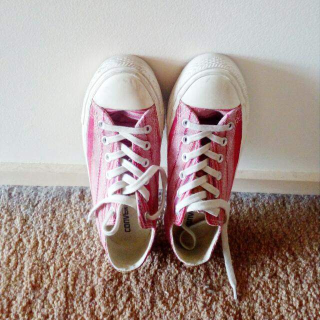 Red Converse Sneakers - Size 9
