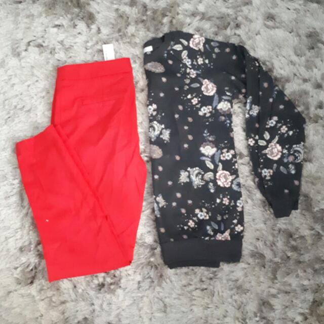Red Zara Pants Size : XS