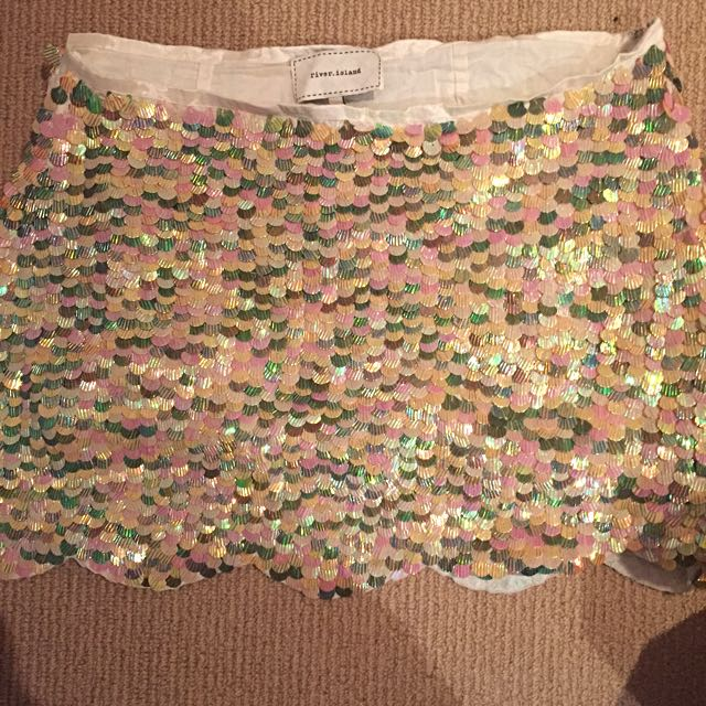 River Island, Multi Sequined, Size 12, Mermaid Skirt