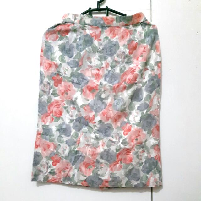 Rok Midi Cotton Flowery All Size Fit To L