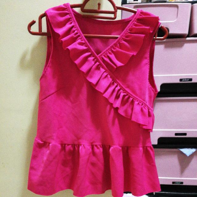 Sharp Pink Peplum Top