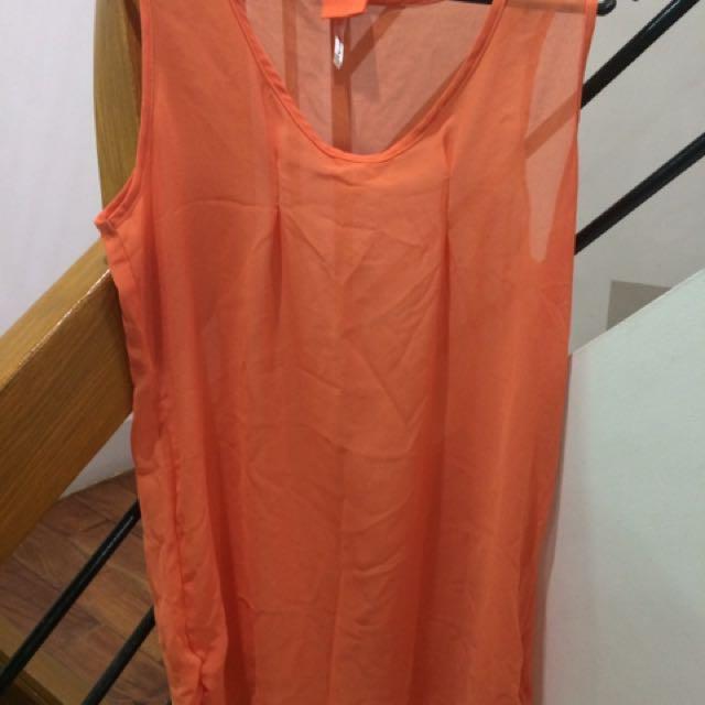 Sheer Top Orange See Through