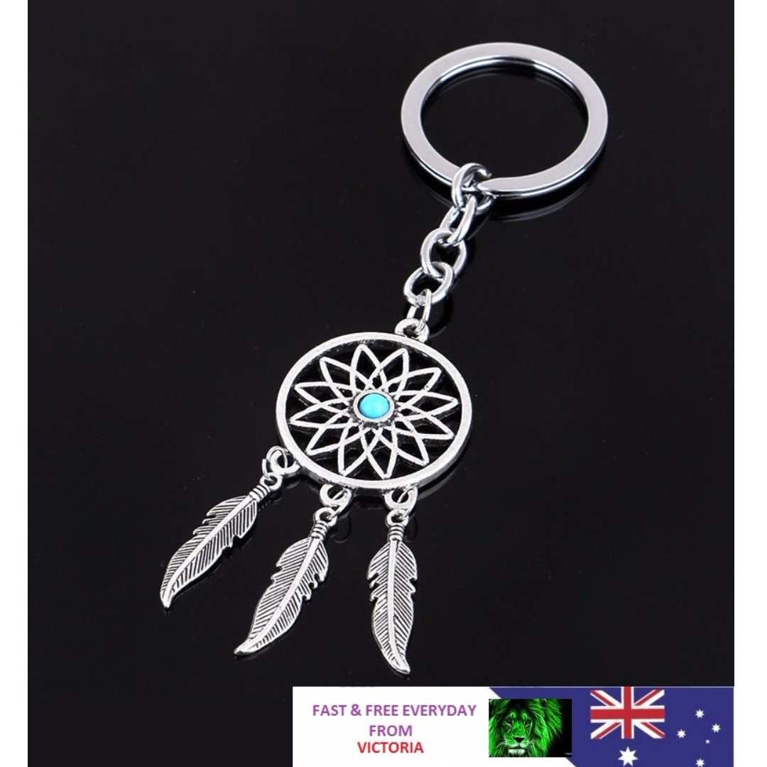 Silver Keychain Feather Tassels Dream Catcher Keyring Key Chain Ring Gift