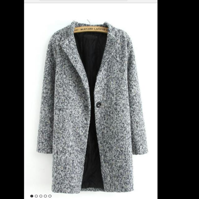Single Button Grey Coat