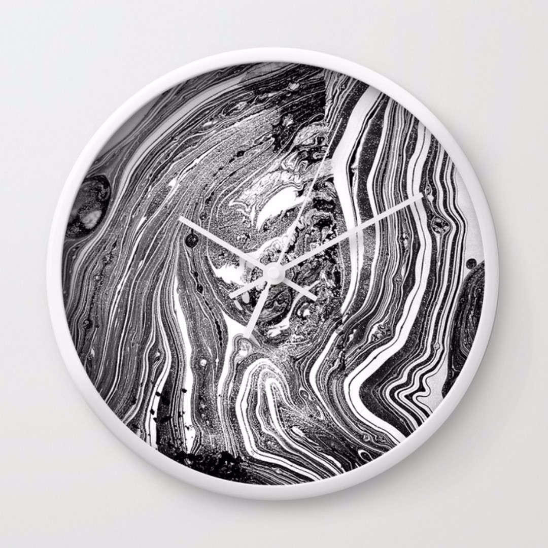 Society6 Marble Print/White Wall Clock