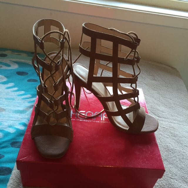 Tan Caged Heels Size 7