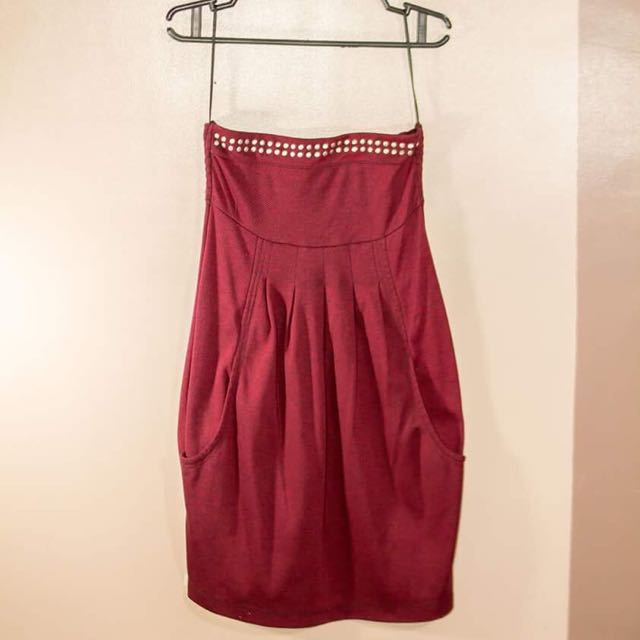 Tomato Tube Party Dress With Pockets