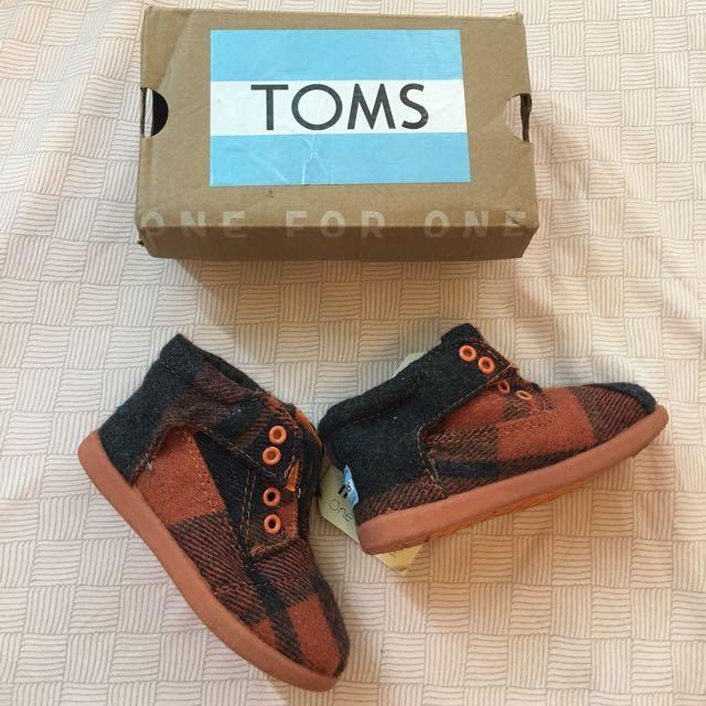 全新toms 格紋高筒鞋,T6(13cm)