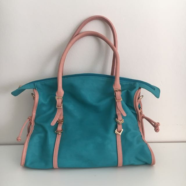 Italian Turquoise & Dusty Pink Handbag