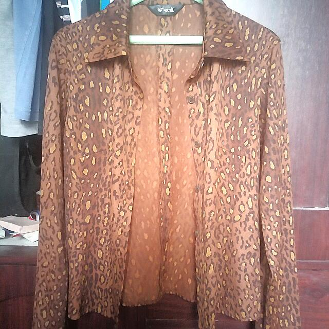 Leopard Print Long Sleeve Button Shirt