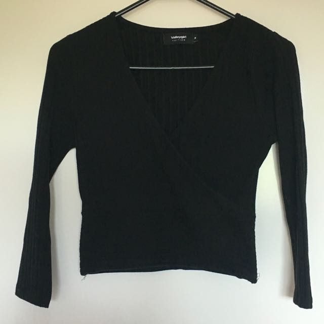 Valleygirl Black Crop Top
