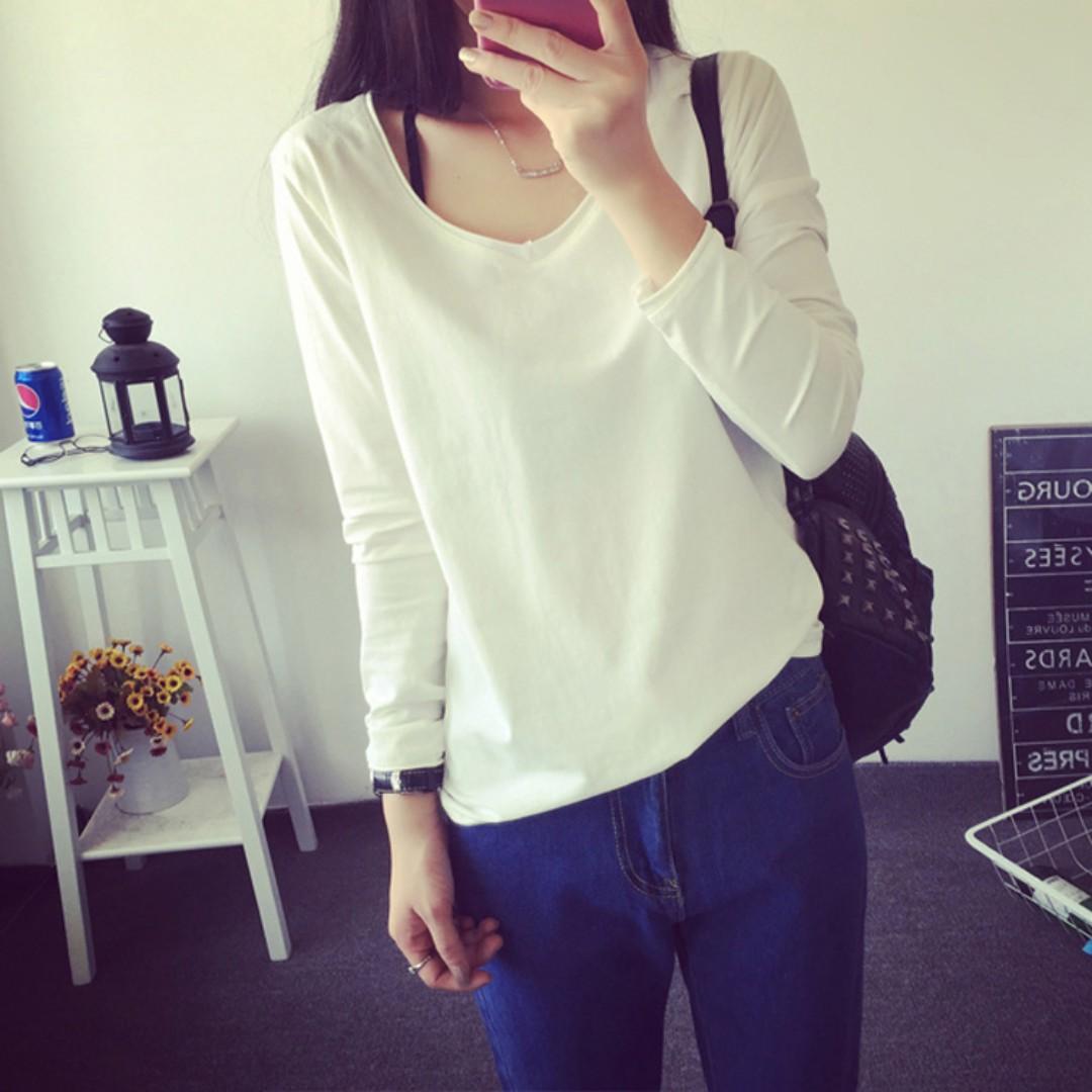 韓版純白簡約寬鬆顯瘦長袖內搭上衣V領T恤打底衫女-M