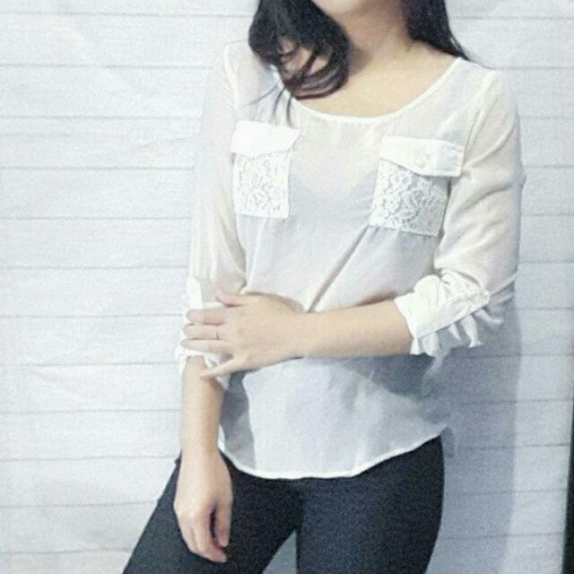 Forever 21 White Lace Blouse