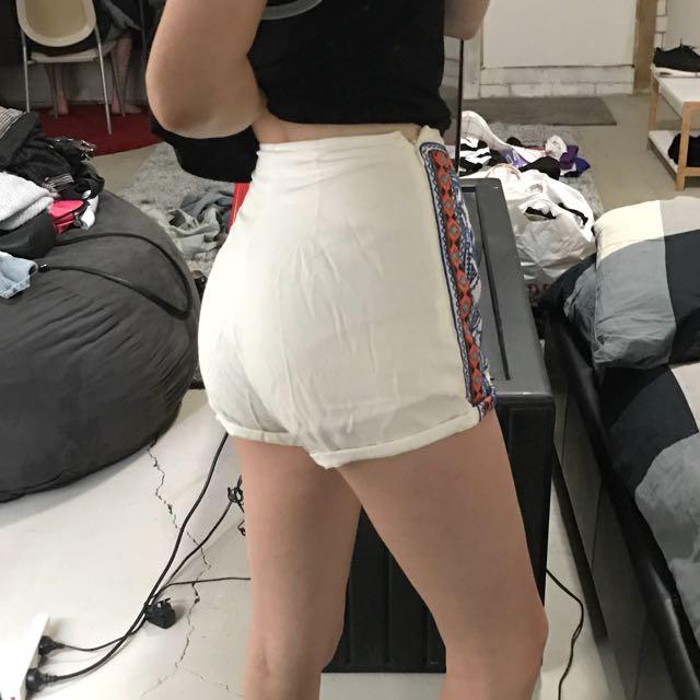 White Pattern High Waisted Shorts