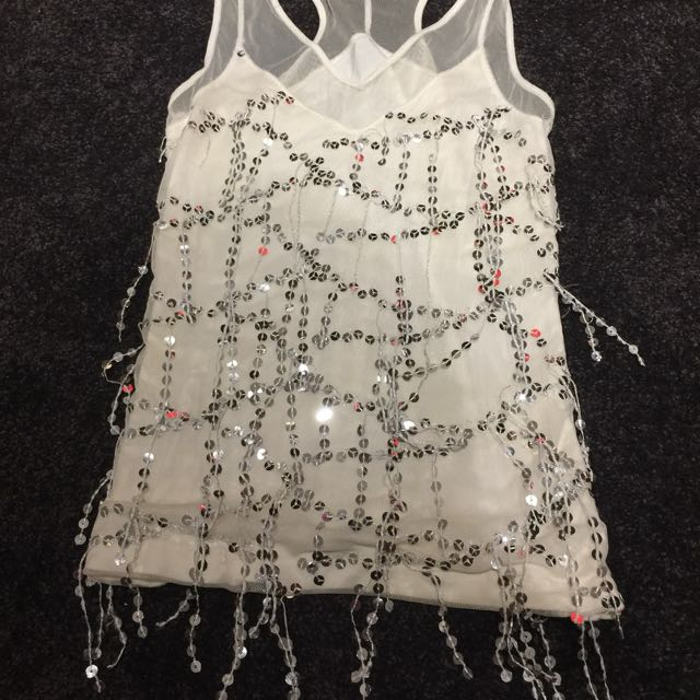 Wish Sequin And Mesh Top