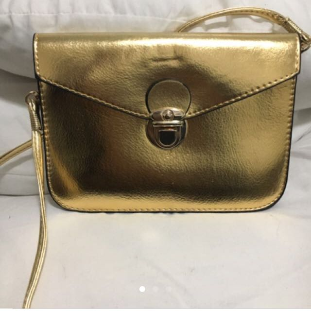 Womens Gold Clutch Handbag