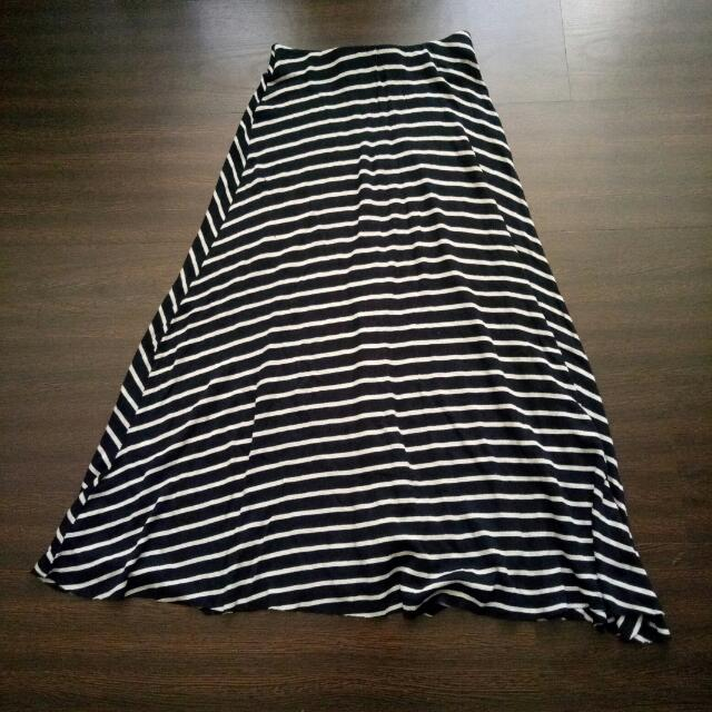 Zara條紋棉質長裙