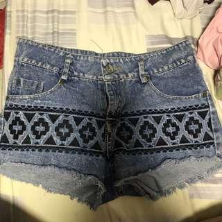 Tribal Blue Distressed Shorts (FEMMEX)