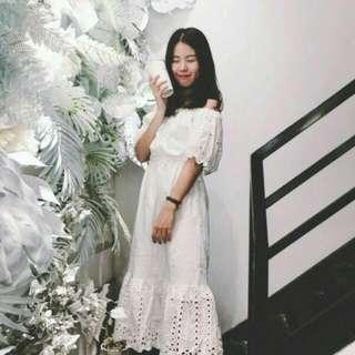 一字領 純棉 白色長洋裝