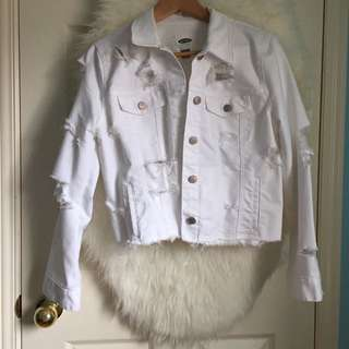Old Navy DIY Ripped White Denim Jacket