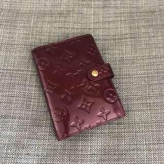 8成新Louis Vuitton 漆皮酒紅色Vernis PM記事本