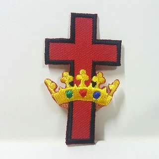 Iron On Patch/ Applique   ↪ Red Cross with Crown 🕆👑  💱 $2.50 Each Piece