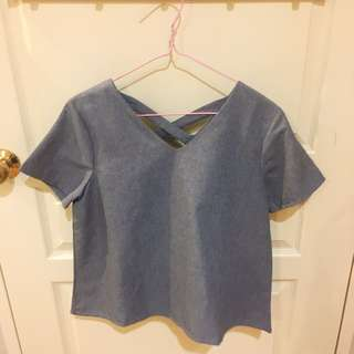 THIS IS APRIL cross back blue top