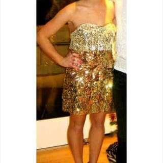 Bebe 3 Tone Gold Dress