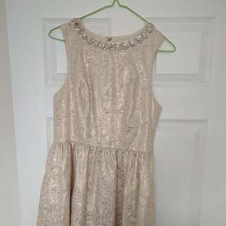 Urban Outfitters Gold Jacquard Dress