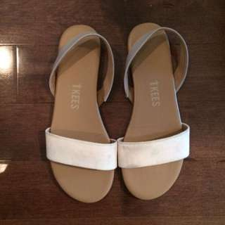 TKEES Nude Suede Sandals