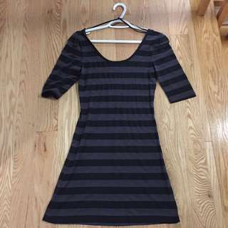 Black And Grey Stripped Dress