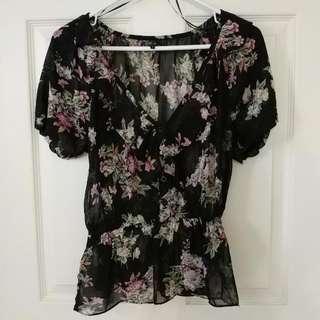 Black Chiffon Floral Shirt