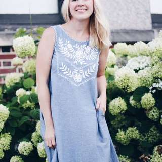 Hand Embroidered Light Chambray Sundress