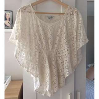 Forever 21 Lace Batwing Top, Small