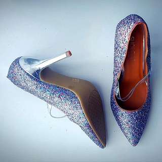 Size 8.5, Nasty Gal Shoecult Sparkly Heels