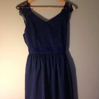 Navy Blue Lace/silk Dress