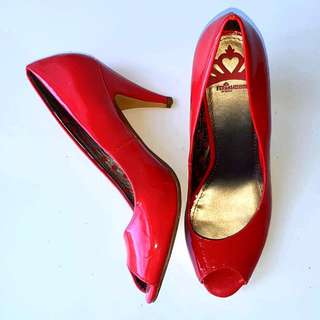 Size 9 Fergilicious By Fergie Sariah Red Open Toe Heel