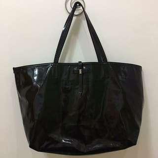 Salvatore Ferragamo Black Patent Leather Bice Tote Bag