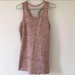 粉色豹紋挖背背心