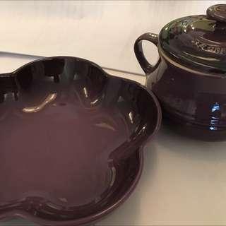 Brand New Le Creuset Soup Bowl & Flower Plate