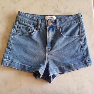 BN Forever 21 Mid/Light Blue Washed Denim High Waist Shorts HWS