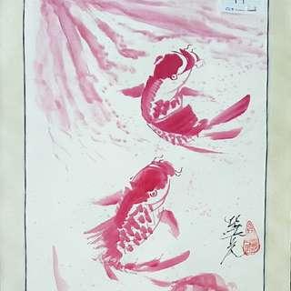 Triple Lotus Chinese Painting Watercolor