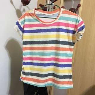 彩色條紋T