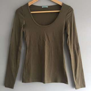 Kookai Khaki Long Sleeve Top